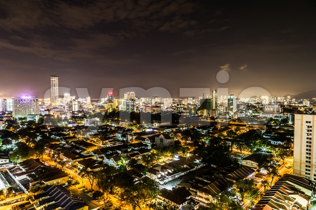 Night cityscape view of the scenic Georgetown Penang Malaysia Stock Photo