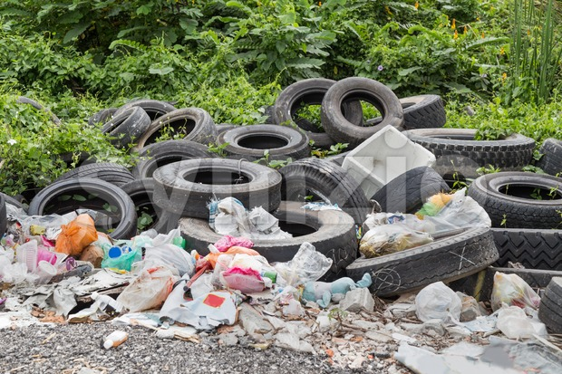 Used tyre at garbage dump collect rain water breed mosquito Stock Photo