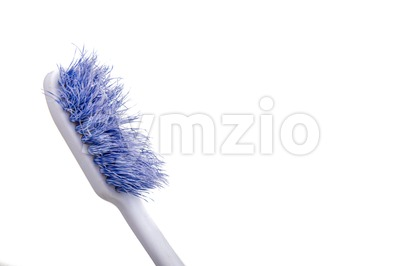 Closeup of old worn out toothbrush bristle Stock Photo