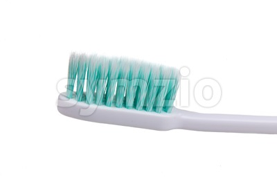 Closeup of toothbrush with soft and slim tapered bristle Stock Photo