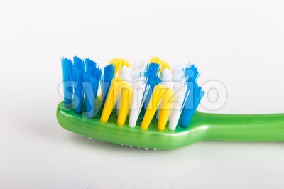 Closeup of toothbrush with uneven round tip bristle Stock Photo