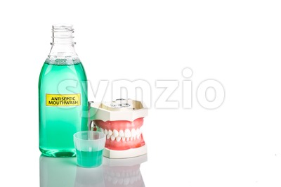 Antiseptic monthwash with dental teeth model used by dentist for education Stock Photo