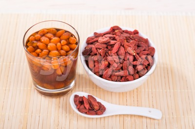 Goji berries or Wolfberry tea remedy to improve eyesight Stock Photo
