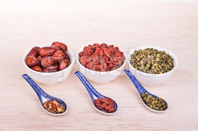 Goji berries or Wolfberry, Chrysanthemum, Dates remedy to improve eyesight Stock Photo