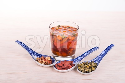 Goji Wolfberry, Chrysanthemum, Red Dates tea remedy to improve eyesight Stock Photo