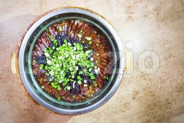 Traditional Chinese glutinous rice with waxed sausage delicacy Stock Photo