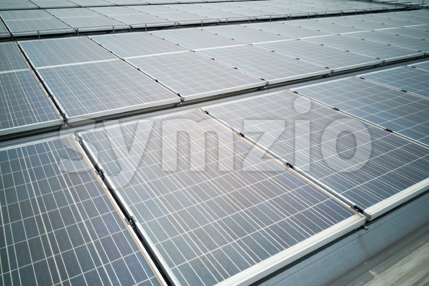 Closeup on solar panels on roof generate power electricity