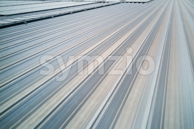 Aluminum industrial metal roof with grooves Stock Photo