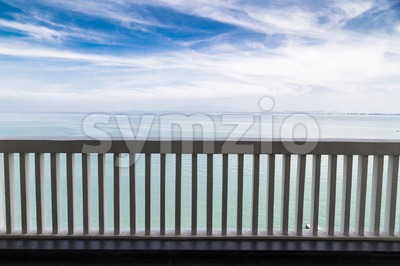 Balcony with breath-taking scenic sea view with horizon Stock Photo