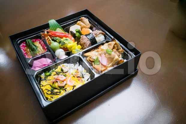 Japanese delivery lunch box for convenience dining Stock Photo