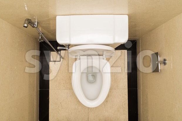 Modern and hygienic toilet bowl with bidet in bathroom Stock Photo