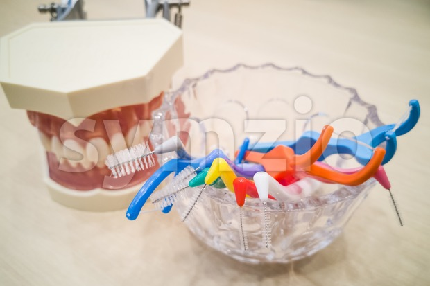 Various type of floss and inter-dental brushes Stock Photo