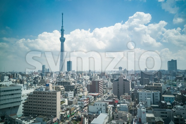 Scenic view of Tokyo Japan cityscape  within Sumida area Stock Photo