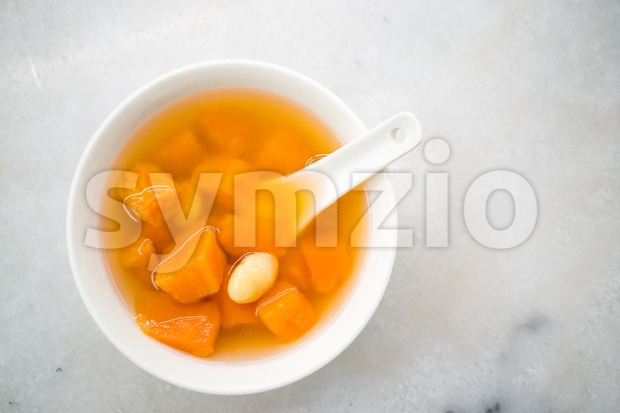 Traditional Chinese sweet dessert of sweet potatoes with ginkgo and ginger for general health benefit