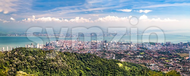 Aerial panorama cityscape of Georgetown, capital of Penang state Malaysia Stock Photo