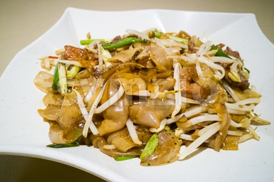 Fried Kuey Teow with beef, popular in Malaysia Stock Photo
