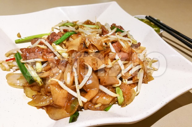 Char Kuey Teow or Fried Kuey Teow with beef, popular cuisine in Malaysia
