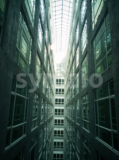 Series of narrow claustrophobia courtyard with glass window Stock Photo