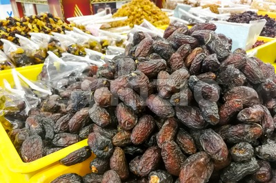 Dates on sale at bazaar for Muslim iftar break fast Stock Photo