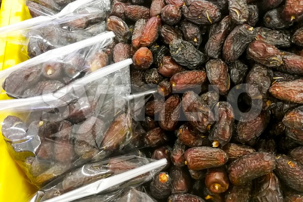 Sweet dried dates on sale at bazaar stall for Muslim iftar break fast