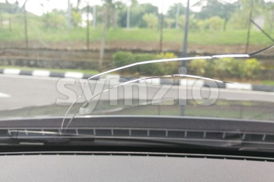 Perspective view of cracked car windscreen or windshield Stock Photo