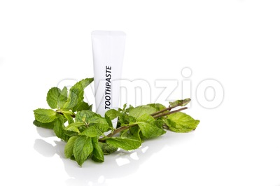 Soft tapered bristle toothbrush with toothpaste and mint leafs Stock Photo