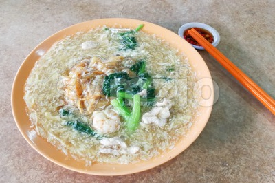 Plate of delicious fried kuey teow noodle Chinese Cantonese style Stock Photo