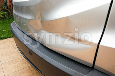 Minor dent at car rear door due to accident Stock Photo