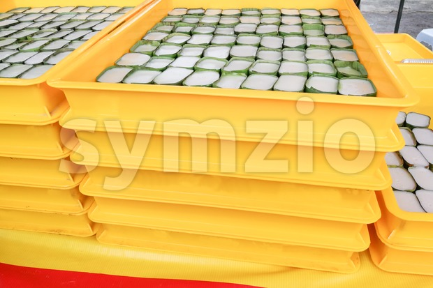 Trays of tepung pelita, popular Malay kuih or sweet dessert in Malaysia