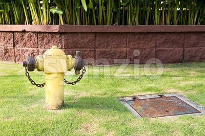 Yellow fire hydrant at strategic residential ready for emergency Stock Photo