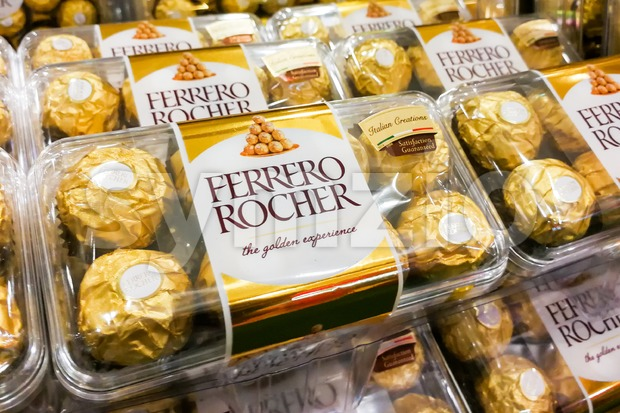 KUALA LUMPUR, Malaysia, June 3, 2017: Ferrero Rocher is a spherical chocolate produced by the Italian chocolatier Ferrero SpA. It ...