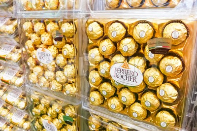 KUALA LUMPUR, Malaysia, June 3, 2017: Ferrero Rocher is a spherical chocolate produced by the Italian chocolatier Ferrero SpA. It is popular as Stock Photo