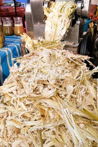 Sugarcane bagasse can be recycled as paper, fuel, renewable energy. Stock Photo