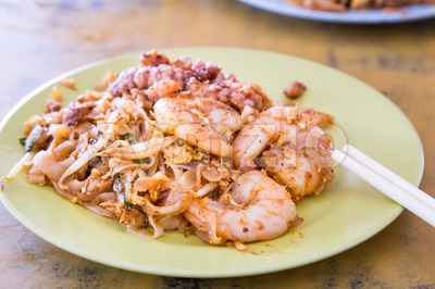 Close-up Penang Char Kuey Teow or fried noodle with prawns Stock Photo