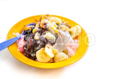 Ice kacang or shaved iced sweet dessert, popular in Malaysia Stock Photo