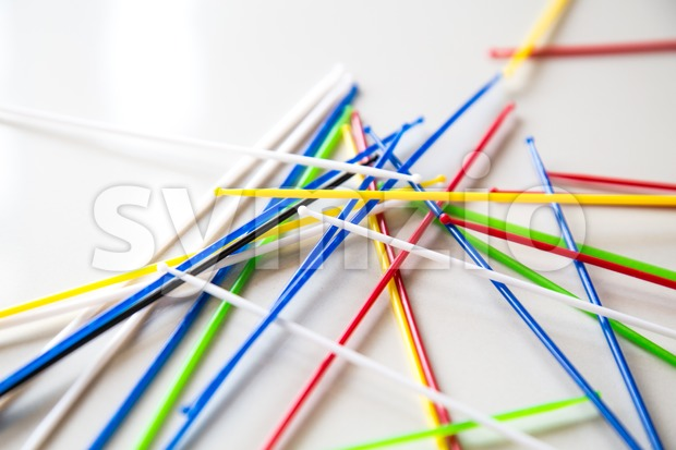 Close-up on pile of pick up sticks fun game overlapping Stock Photo