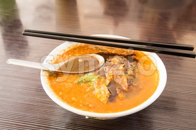 Asam laksa, popular Penang noodle with prawn paste Stock Photo
