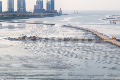 Sea land reclaiming activity at Gurney drive Penang Malaysia Stock Photo
