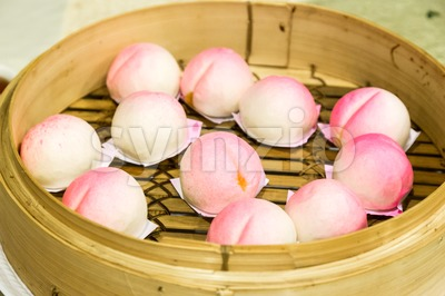 Traditional Chinese birthday bun named Shou Bao served on birthdays Stock Photo