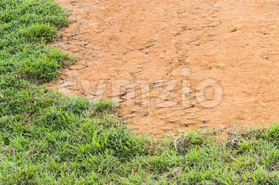 Slope erosion control close up with grids and grass planted Stock Photo