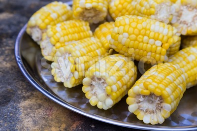 Plateful of fresh sweet organic corn steamed ready to eat Stock Photo