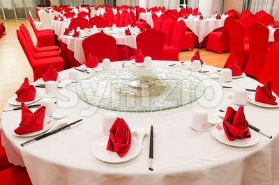 Generic Chinese wedding dinner banquet set-up with dinner wares Stock Photo