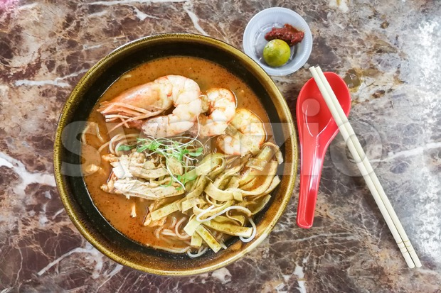 Authentic delicious Sarawak Laksa with big prawns, popular food in Malaysia