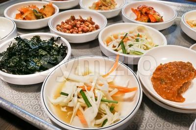 Korean meal side dishes vegetable, kinchi, groundnuts, garlic, bean sprout Stock Photo