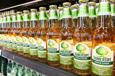 KUALA LUMPUR, Malaysia, June 25, 2017:  Somersby cider is a brand of Danish brewing company Carlsberg Group. It is one of the leading cider brand in Stock Photo