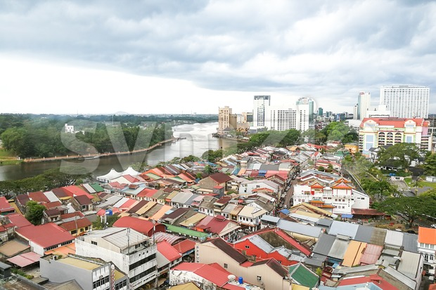 KUCHING, Malaysia, June 25, 2017:  Overview of Kuching city waterfront, popular tourism destination in Sarawak