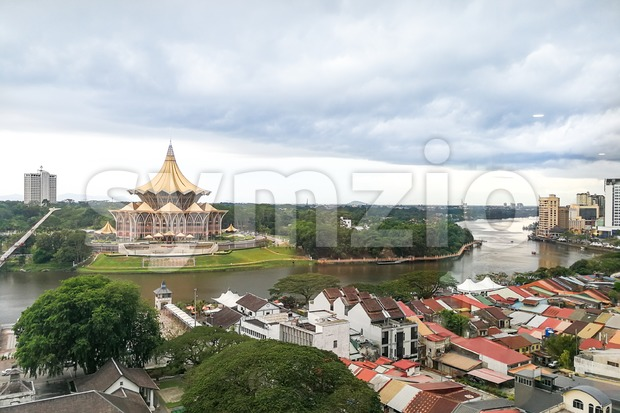 KUCHING, Malaysia, June 25, 2017:  Overview of Kuching city waterfront, popular tourism destination in Sarawak. State Legislative Assembly building in Stock Photo