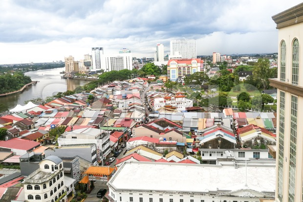 KUCHING, Malaysia, June 25, 2017:  Overview of Kuching city waterfront, popular tourism destination in Sarawak Stock Photo