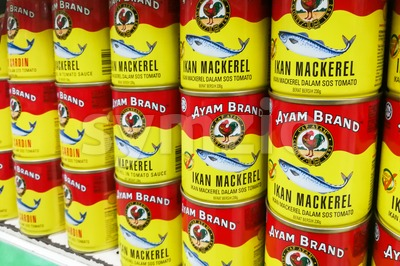 KUALA LUMPUR, Malaysia, June 25, 2017: Ayam Brand or Ayam is a prepared food company based in Singapore. Ayam Brand produces over 60 million cans of Stock Photo