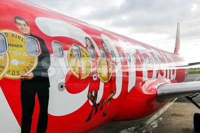 KUALA LUMPUR, Malaysia, June 25, 2017:  AirAsia Berhad is a Malaysian low-cost airline headquartered near Kuala Lumpur, Malaysia. It is the largest Stock Photo